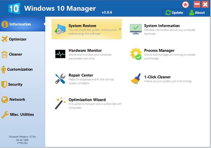 Windows 10 Manager full screenshot